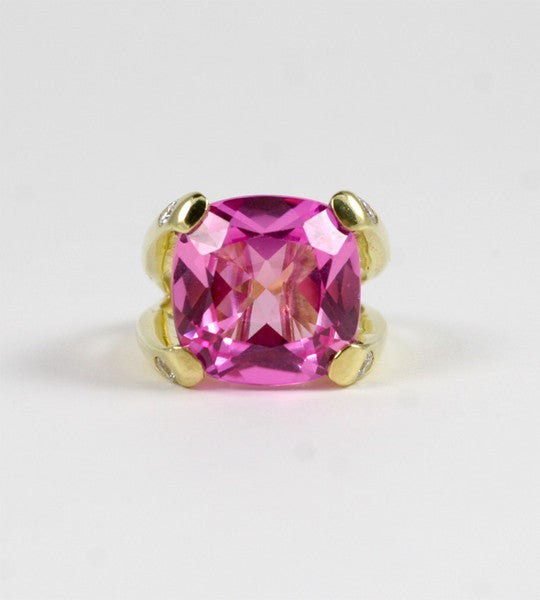 Faceted Cushion Cut Pink Topaz Dome Ring with Diamonds 5