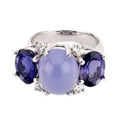 Medium GUM DROP™ Ring with Cabochon Chalcedony and Iolite and Diamonds