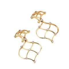 Woven Drop Earrings with Diamonds