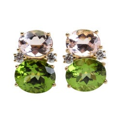 Medium GUM DROP™ Earrings with Kunzite and Peridot and Diamonds