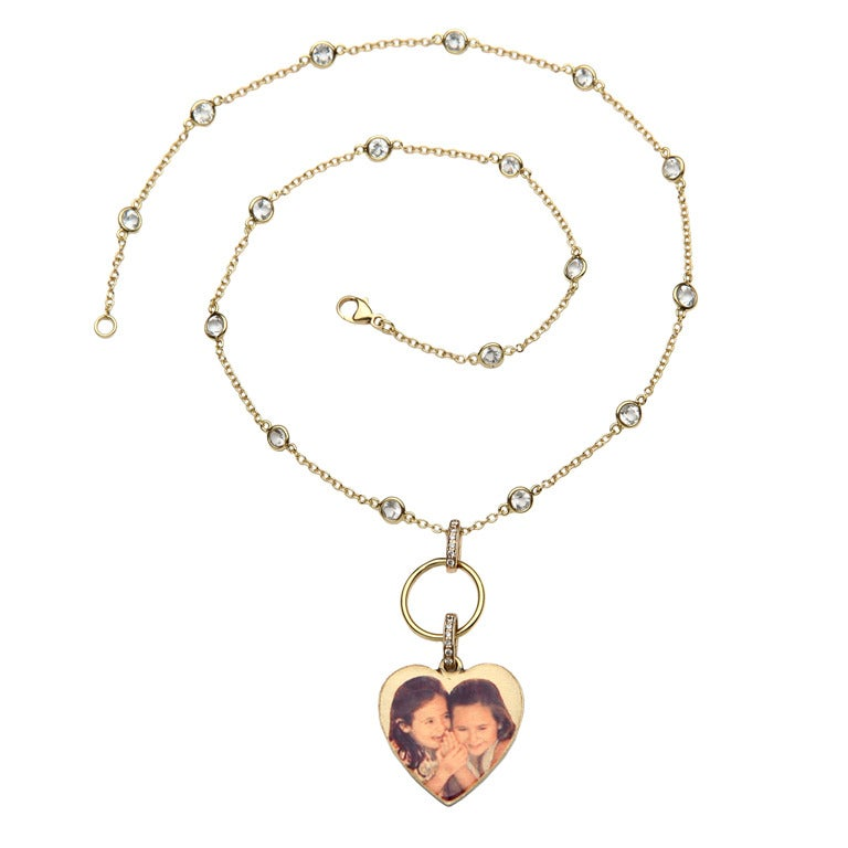 Picture Pendant Heart with Diamond Bale on White Topaz by the Yard Chain