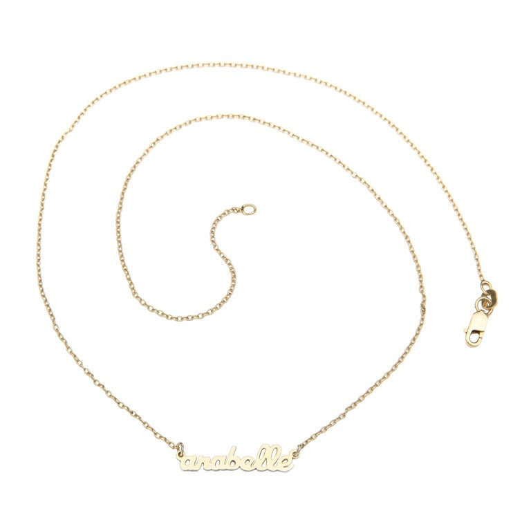 Mini Script Name Necklace Necklace with One Name  - Gold Plate 1
