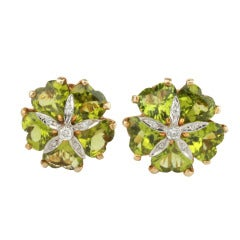 Peridot Diamond Yellow Gold Sand Dollar Earrings