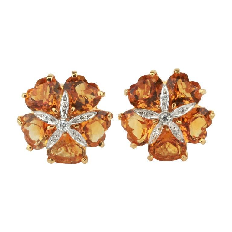 Citrine Diamond Yellow Gold Sand Dollar Earrings For