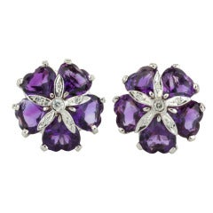 Amethyst Diamond White Gold Sand Dollar Earrings