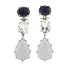 Iolite Rock Crystal Chalcedony White Gold Three Stone Drop Earrings