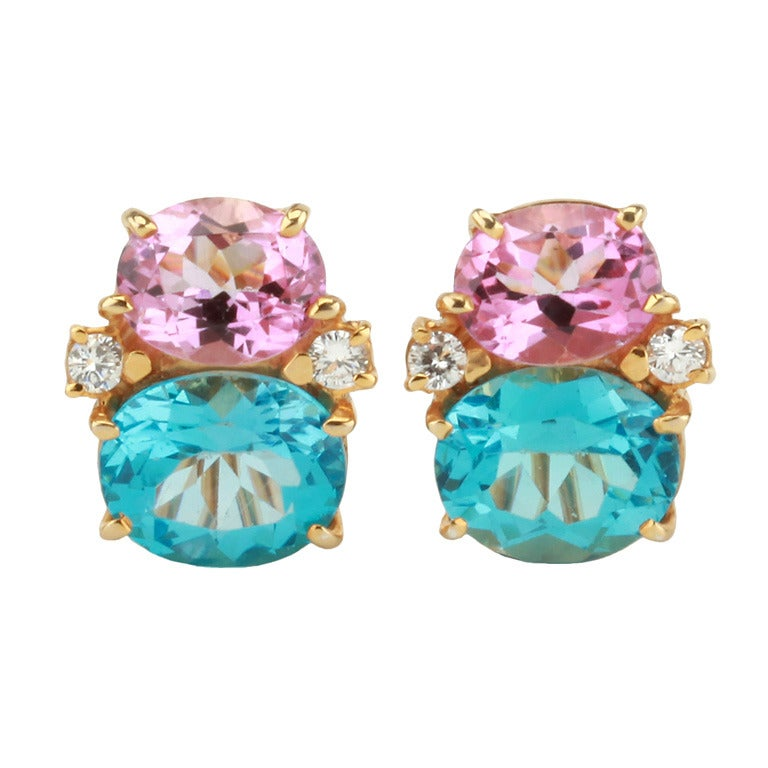 Medium Gum Drop Earrings With Pink Topaz And Blue Diamonds For