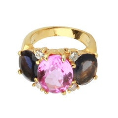 Medium GUM DROP™ Ring with Pink Topaz and Iolite and Diamonds