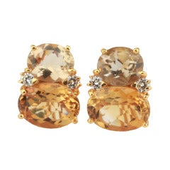 Large GUM DROP™ Earrings with Champagne Quartz and Citrine and Diamonds