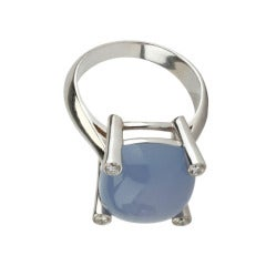 White Gold Small Cushion Ring with Cabochon Chalcedony and Diamonds