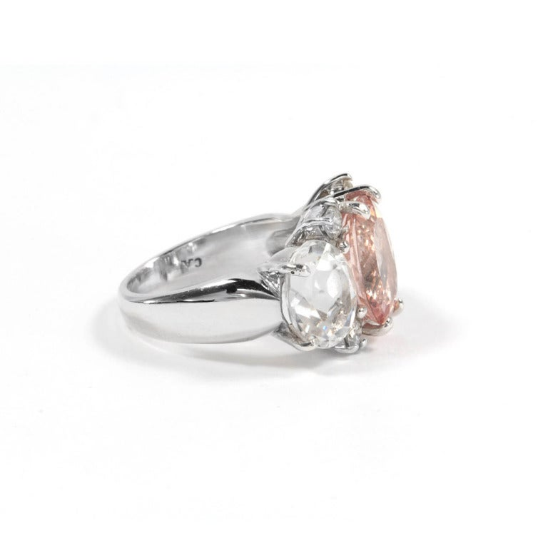medium white gold gum drop ring with morganite and white