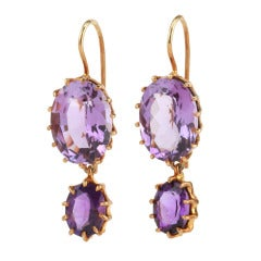 Yellow Gold Plated Multi Prong Two Stone Drop Earrings with Amethyst