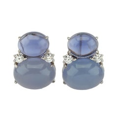 Large GUM DROP™ Earrings with Cabochon Chalcedony and Diamonds