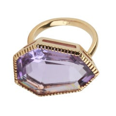 Yellow Gold Byzantine Ring with Amethyst