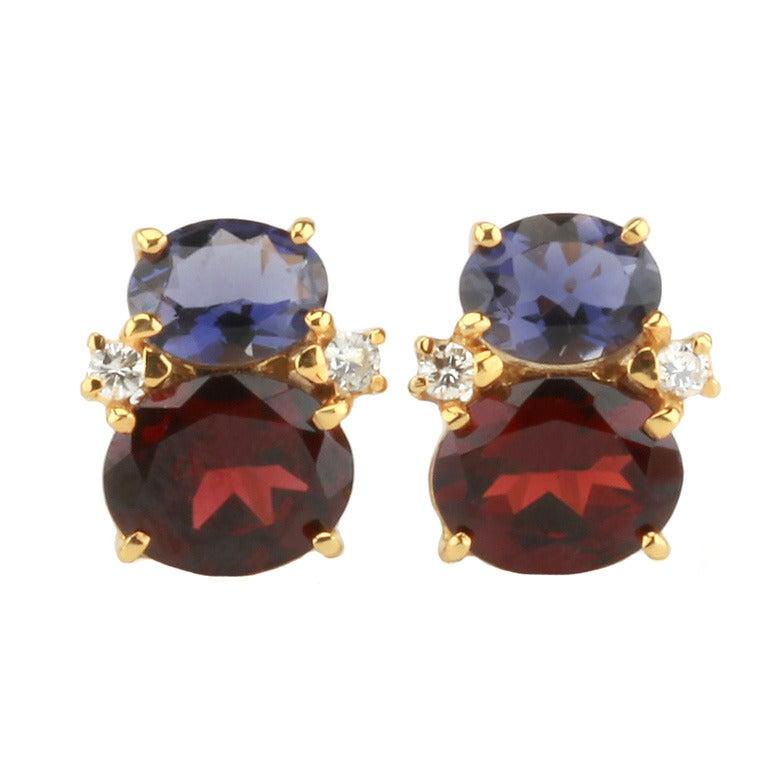 Mini GUM DROP™ Earrings with Iolite and Garnet and Diamonds