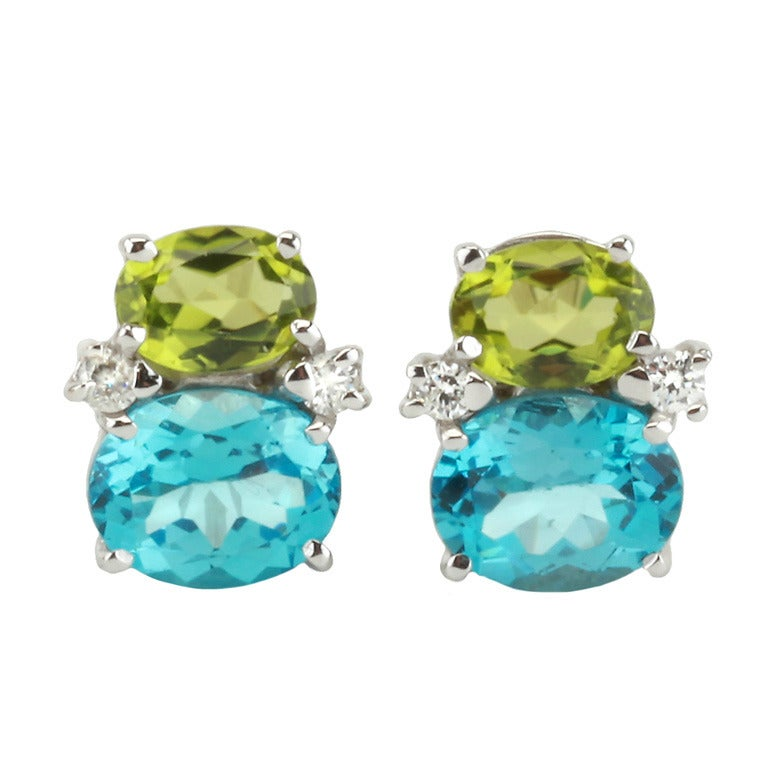 Mini GUM DROP™ Earrings with Peridot and Blue Topaz and Diamonds