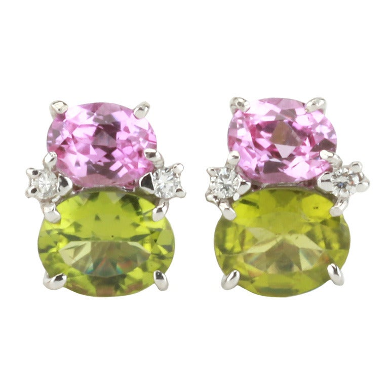 Medium GUM DROP™ Earrings with Pink Topaz and Peridot and Diamonds 1