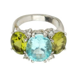 Medium GUM DROP™ Ring with Blue Topaz and Peridot and Diamonds
