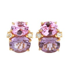 Medium GUM DROP™ Earrings with Pink Topaz and Amethyst and Diamonds