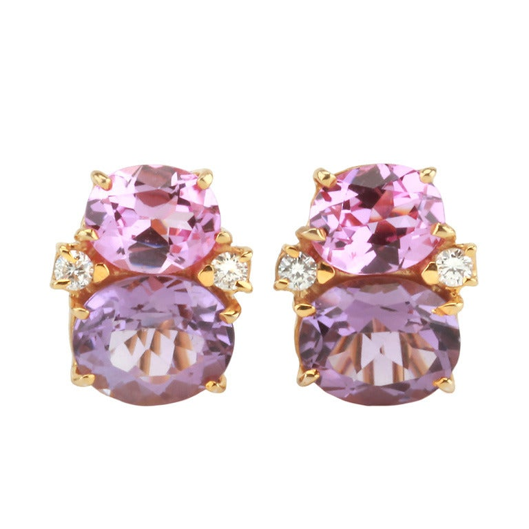 Medium GUM DROP™ Earrings with Pink Topaz and Amethyst and Diamonds 1