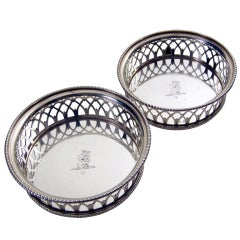 A Pair of  English Antique Silver Wine Coasters  London 1798