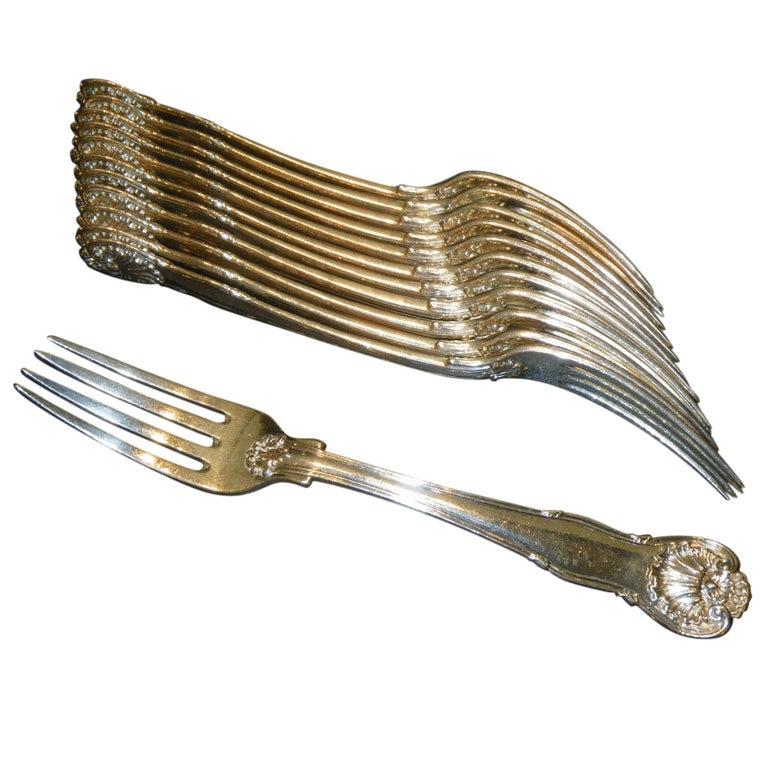 Flatware Antique Silver 12 Kings Husk Dessert Salad forks