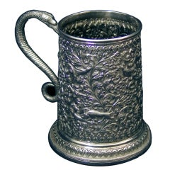 Kutch Victorian Indian Silver Tankard by Oomersee Mawjee animals in foliage