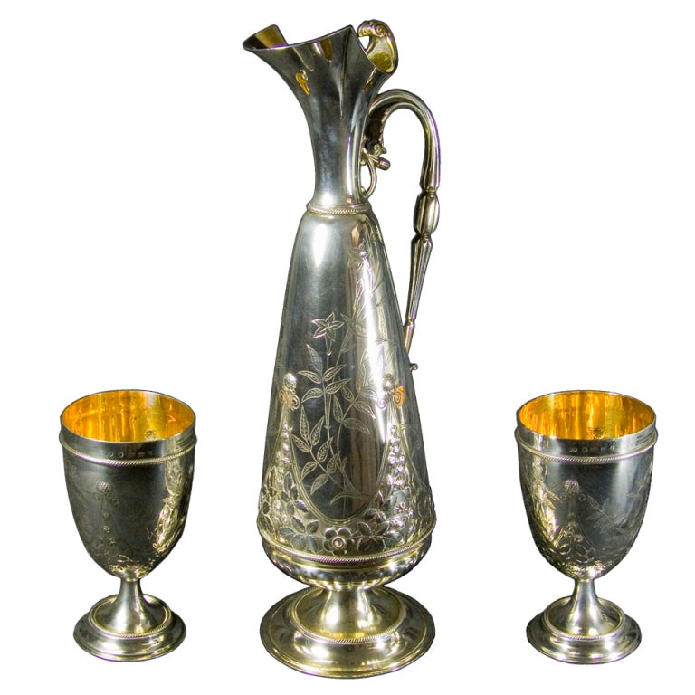 English Silver Ewer and Goblets