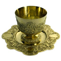 Victorian English Silver-gilt Gold on silver bowl & stand Bacchanalian relief