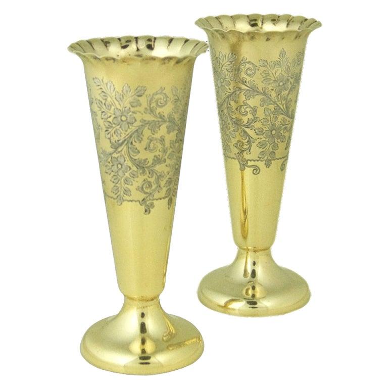 Pair Antique Silver-gilt Vases