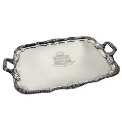 Antique silver George IV Shell and Gadroon Border Tray