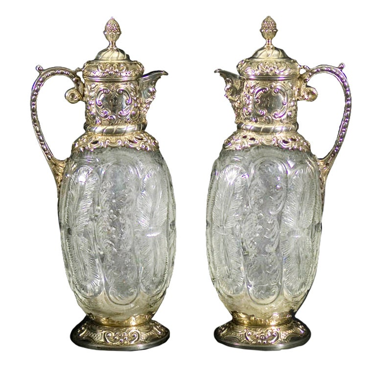 Pair Antique Silver and Carved Glass Claret Jugs For Sale