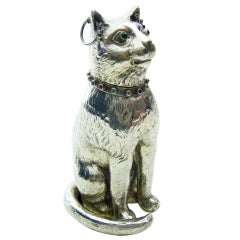 Antique Silver Model of a Bejewelled Collared Cat