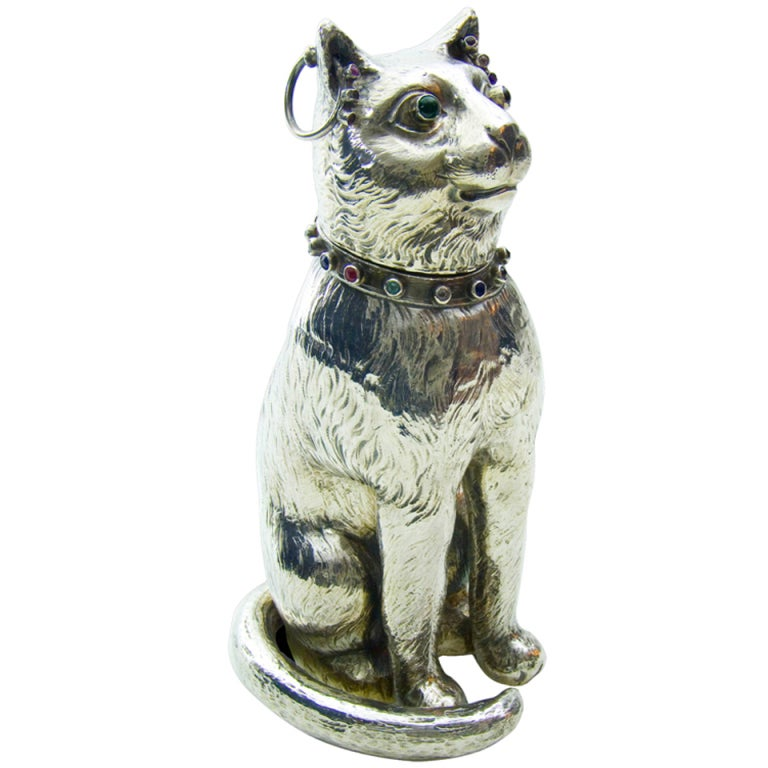 Antique Silver Model of a Bejewelled Collared Cat imported by Edwin T Briant