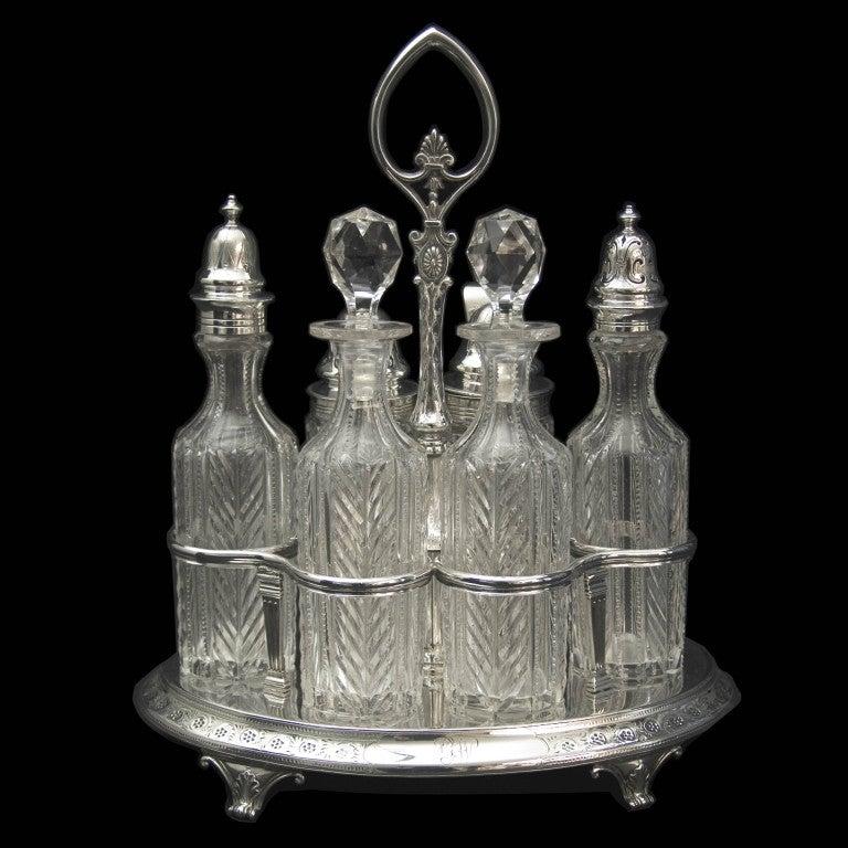 Antique English Silver Six Bottle Cruet Stand At 1stdibs