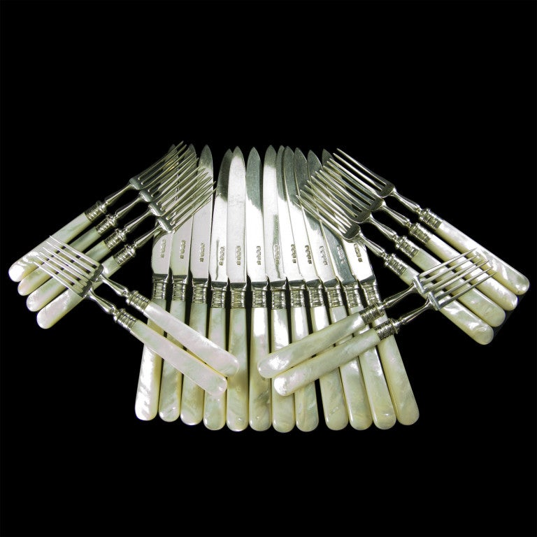 English mother of pearl and silver handled fruit eaters - Pearl handled flatware ...