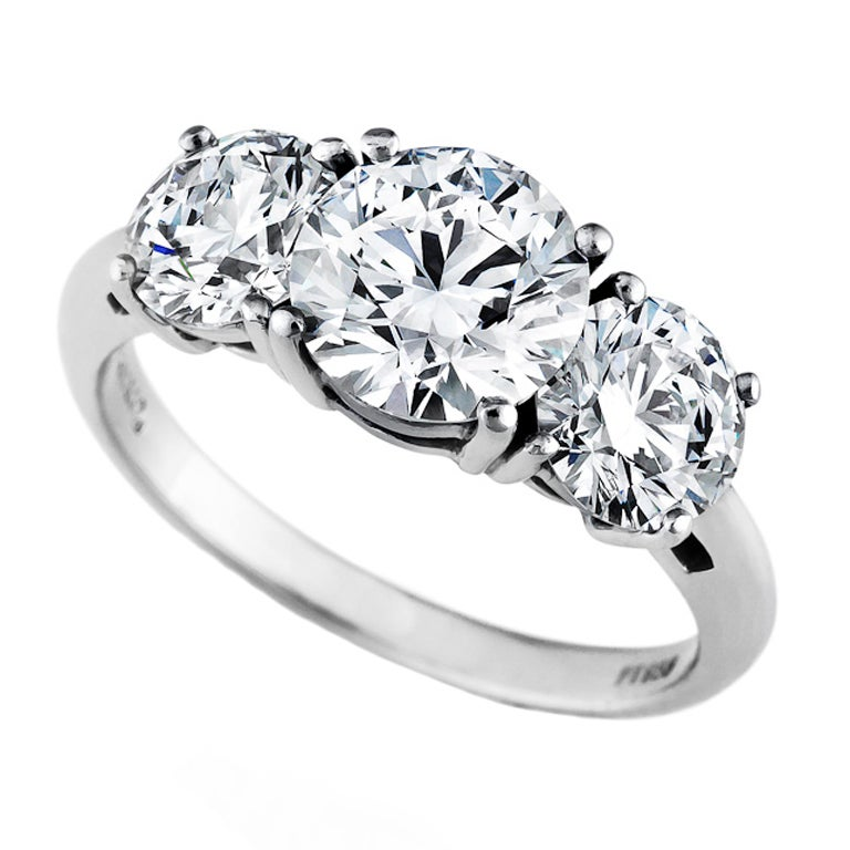 Tiffany And Co Internally Flawless Diamond Three Stone Ring At 1stdibs
