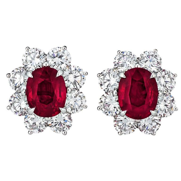Burmese Ruby and Diamond Earrings For Sale
