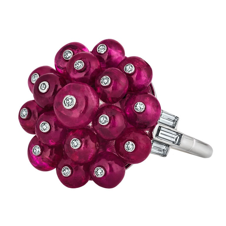 Art Deco Ruby Diamond Platinum Bead Ring