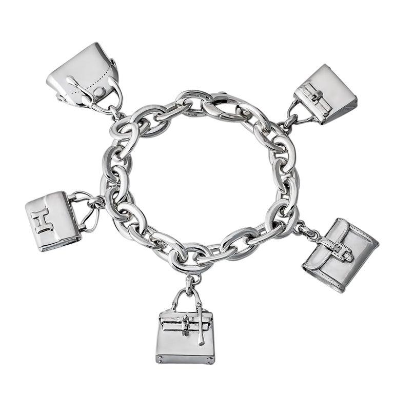 Hermes Sterling Silver Bag Charm Bracelet