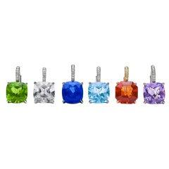 "Steven Fox Custom ""Gum Drop"" Colored Gemstone Earrings"