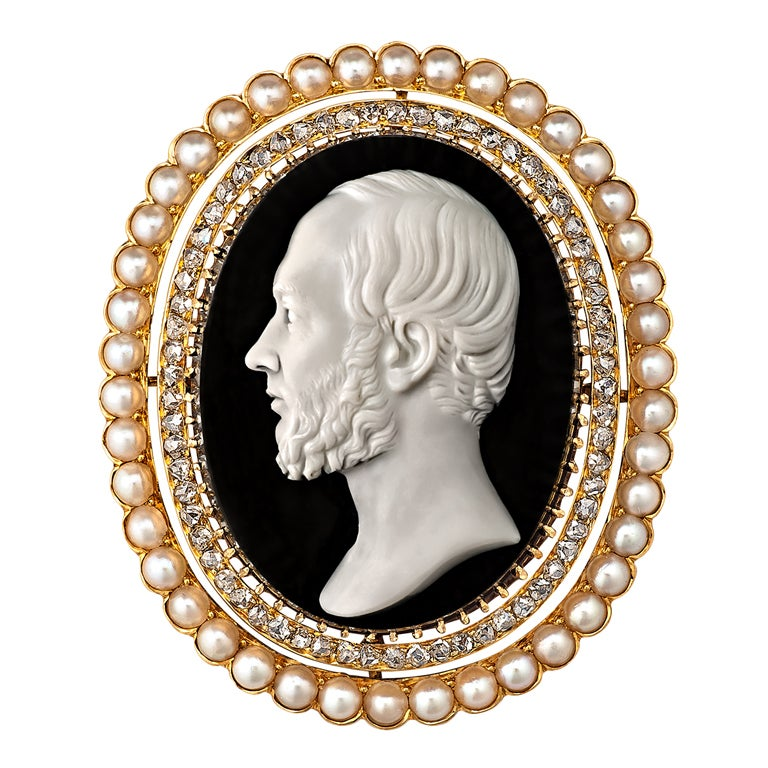 Victorian Hardstone Diamond and Pearl Cameo Brooch 1