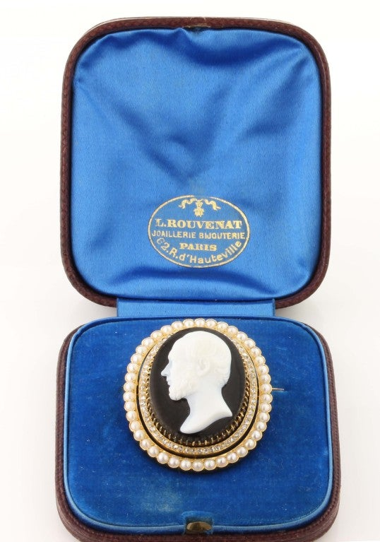 Victorian Hardstone Diamond and Pearl Cameo Brooch 2