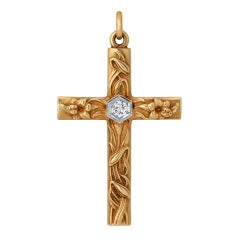 Art Nouveau Handmade Diamond and Gold Cross Pendant