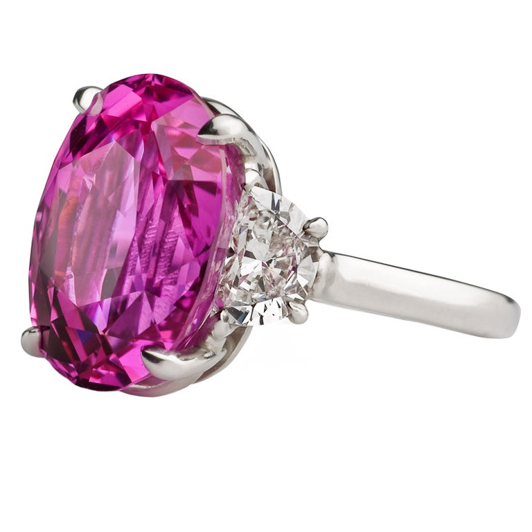 pink sapphire platinum certificated ring at 1stdibs