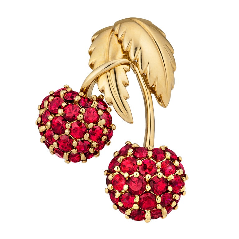 Tiffany & Co. Ruby Cherry Brooch