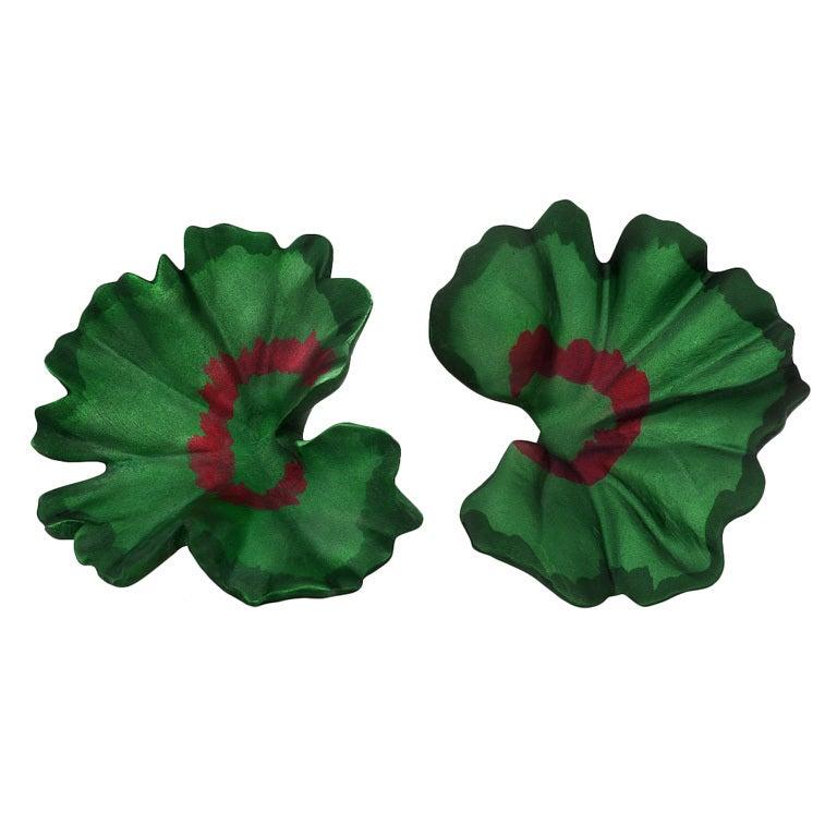 Jar Titanium Leaf Earrings