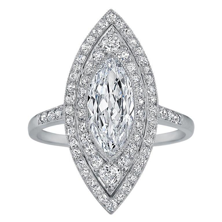 Art Deco Navette Diamond Platinum Ring 1