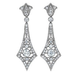 Marcus & Co. Art Deco Diamond Platinum Pendant Earrings