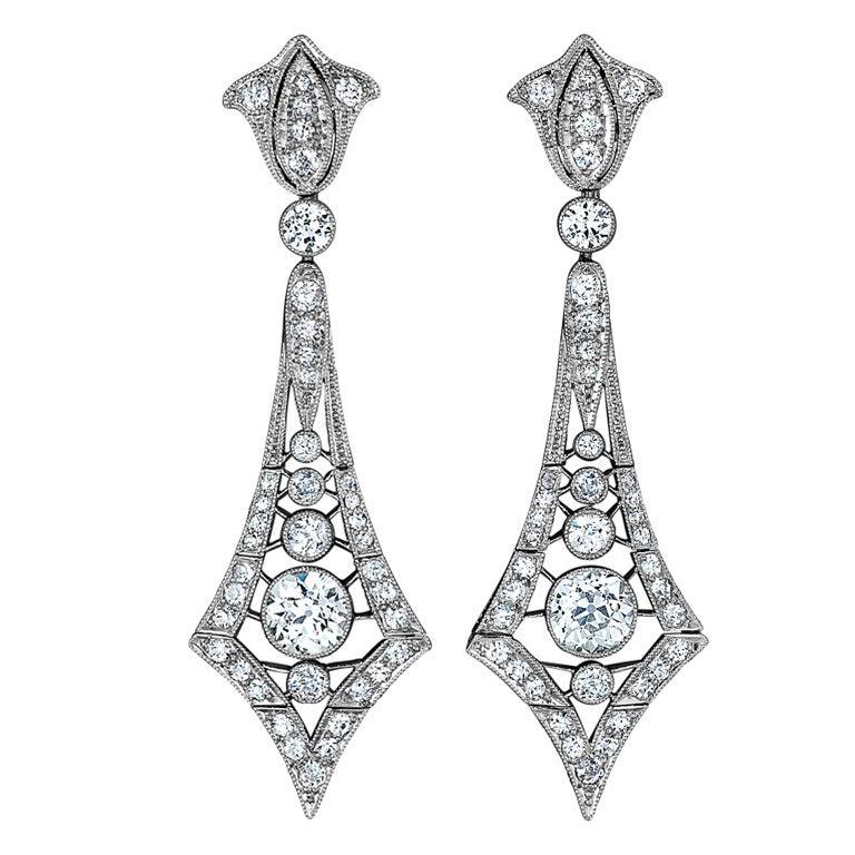 Marcus & Co. Art Deco Diamond Platinum Pendant Earrings For Sale